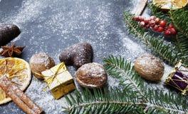 Fondo de la Navidad con el árbol de abeto de la nieve, las nueces y los panes de jengibre Imagen de archivo