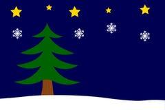 Fondo de la Navidad con el árbol, las estrellas y los copos de nieve de abeto Fotos de archivo