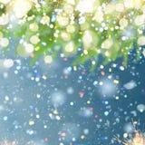 Fondo de la Navidad con el árbol y la nieve de abeto Foto de archivo libre de regalías