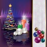 Fondo de la Navidad con el árbol y las velas Foto de archivo libre de regalías