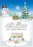 Fondo 2019 de la Navidad con el árbol de navidad y los muñecos de nieve stock de ilustración