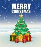 Fondo de la Navidad con el árbol de navidad y los presentes stock de ilustración