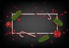 Fondo de la Navidad con el abeto y el caramelo Fotografía de archivo libre de regalías