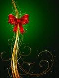Fondo de la Navidad con el arqueamiento rojo ilustración del vector