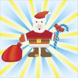 Fondo de la Navidad con el bastón y Santa Hat Imágenes de archivo libres de regalías