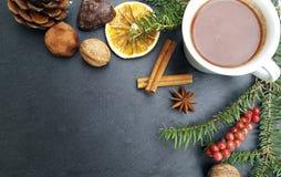 Fondo de la Navidad con el chocolate del árbol de abeto, nuts y caliente Imagenes de archivo