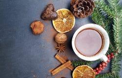 Fondo de la Navidad con el chocolate del árbol de abeto, nuts y caliente Imagen de archivo