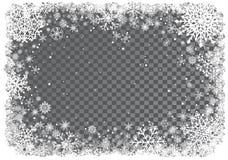 Fondo de la Navidad con el marco de copos de nieve Imagen de archivo