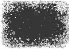 Fondo de la Navidad con el marco de copos de nieve ilustración del vector