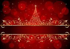 Fondo de la Navidad con el marco de oro Foto de archivo libre de regalías