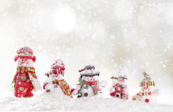 Fondo de la Navidad con el muñeco de nieve stock de ilustración