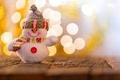Fondo de la Navidad con el muñeco de nieve Fotos de archivo libres de regalías