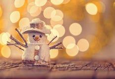 Fondo de la Navidad con el muñeco de nieve Imagenes de archivo