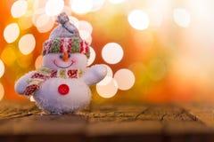 Fondo de la Navidad con el muñeco de nieve Fotografía de archivo libre de regalías