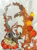 Fondo de la Navidad con el ornamento rojo y amarillo en un fondo texturizado blanco  imagen de archivo