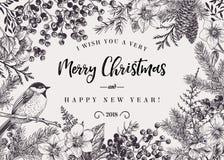 Fondo de la Navidad con el pájaro ilustración del vector