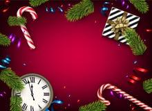 Fondo de la Navidad con el regalo y el reloj Fotografía de archivo libre de regalías