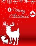 Fondo de la Navidad con el reno y el reno del bebé Imágenes de archivo libres de regalías