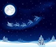Fondo de la Navidad con el trineo de Santaâs Foto de archivo