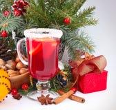 Fondo de la Navidad con el vino reflexionado sobre Fotografía de archivo