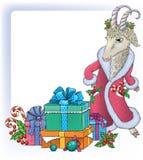 Fondo de la Navidad con la cabra Foto de archivo