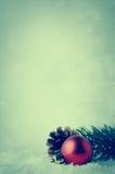 Fondo de la Navidad con la chuchería roja y follaje en nieve Imagenes de archivo