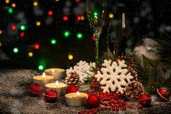Fondo de la Navidad con la decoración festiva Fotografía de archivo