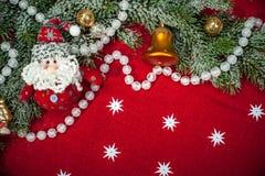 Fondo de la Navidad con la decoración y los juguetes Imagen de archivo libre de regalías