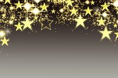 Fondo de la Navidad con la guirnalda luminosa con las estrellas, los copos de nieve y el lugar para el texto Fondo brillante azul Fotografía de archivo libre de regalías
