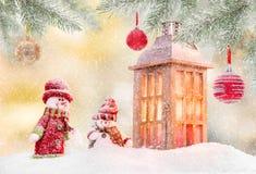 Fondo de la Navidad con la linterna libre illustration