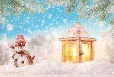 Fondo de la Navidad con la linterna stock de ilustración