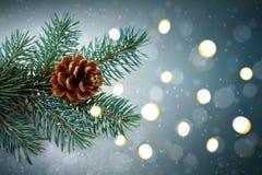Fondo de la Navidad con la rama y las luces de árbol de abeto Fotos de archivo