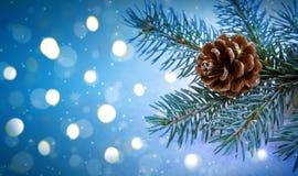 Fondo de la Navidad con la rama y las luces de árbol de abeto Imágenes de archivo libres de regalías
