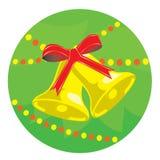 Fondo de la Navidad con las alarmas del oro Foto de archivo