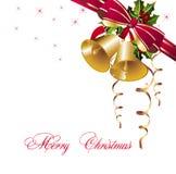 Fondo de la Navidad con las alarmas y las cintas del oro Imagen de archivo