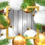 Fondo de la Navidad con las bolas fotografía de archivo