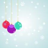 Fondo de la Navidad con las bolas de la Navidad de la ejecución Imagen de archivo libre de regalías