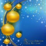 Fondo de la Navidad con las bolas de la Navidad del oro Imagen de archivo