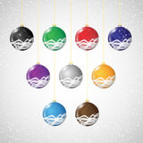 Fondo de la Navidad con las bolas de la Navidad fijadas Imagen de archivo