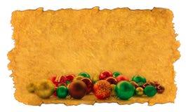 Fondo de la Navidad con las bolas y las decoraciones Foto de archivo