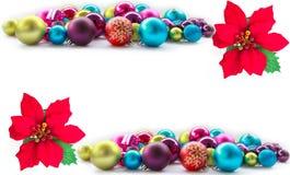 Fondo de la Navidad con las bolas y las decoraciones Fotografía de archivo libre de regalías