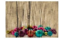 Fondo de la Navidad con las bolas y las decoraciones Imágenes de archivo libres de regalías