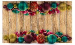 Fondo de la Navidad con las bolas y las decoraciones Fotos de archivo