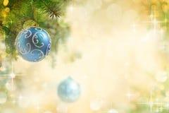 Fondo de la Navidad con las bolas y las luces Fotografía de archivo
