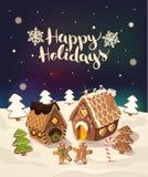 Fondo de la Navidad con las casas de pan de jengibre stock de ilustración