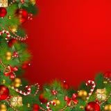 Fondo de la Navidad con las chucherías Imagen de archivo