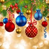 Fondo de la Navidad con las chucherías Imagen de archivo libre de regalías
