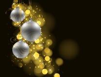 Fondo de la Navidad con las chucherías de plata en fondo oscuro ilustración del vector