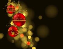 Fondo de la Navidad con las chucherías rojas en fondo oscuro libre illustration