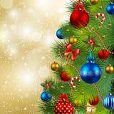 Fondo de la Navidad con las chucherías y la Navidad tr Foto de archivo libre de regalías
